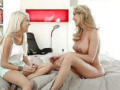 Big Boobs Blonde Lesbian MILF Old and Young