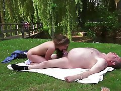 Blonde Blowjob Old and Young Outdoor Teen